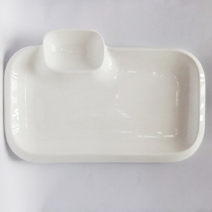 10inch - rectangular plate with sauce